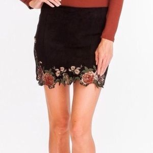 NWT Black leather floral olivaceous skirt